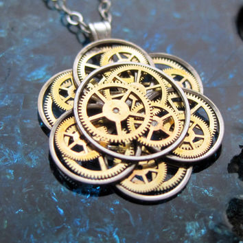 "Mechanical Flower Necklace ""Wild Lotus"" Elegant Recycled Watch Parts Gear Pendant Asian Clockwork Plant Assemblage Balance Wheel Petals OOAK"
