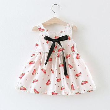 Xemonale Summer Girls One Piece Dress Fruit Watermelon Bow Black Ribbon Red Dot Sleeveless Princess Birthday Wedding Party