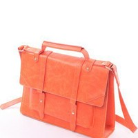 Retro Leather Holdall Bag in Neon Orange - Retro, Indie and Unique Fashion