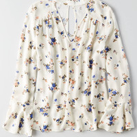 AEO Printed Long Sleeve Choker Top , Cream