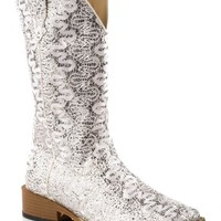 Roper Bling Lace Glitter Faux Leather Cowgirl Boots - Square Toe - Sheplers