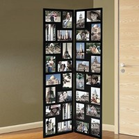 Adeco Black Wood Hinged Folding Partition Screen-Style Collage Picture Photo Frame 32 Openings, 4x6""