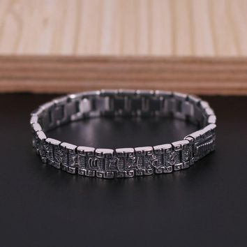 Retro S925 Sterling Silver Six Words Mantras Bracelet & Bangle 8mm Wide Vintage Bangle Bracelet Women Gift Fine Jewelry