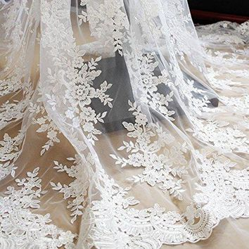 """51"""" Width Off-white Floral Embroidery Mesh Lace Fabric with Sequins, Beaded Bridal Wedding Tulle Lace Fabric by the Yard"""