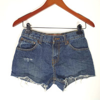 High Waisted Denim Shorts - Distressed - High Waist Jean Shorts - Size US Kids 16 or 1