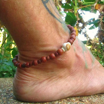 Petrified Wood Beaded Anklet / Wooden Beaded Ankle Bracelet / Surfer Ankle Bracelet / Mens Anklet / Beaded Manklet / Mens Jewelry