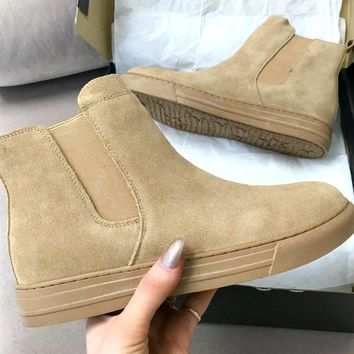 It's Mutual Camel Suede High Top Bootie