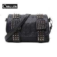 2016 luxury handbags women bag designer vintage women's pu rivet chain messenger shoulder bags female skull clutch famous brand