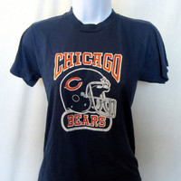 Vintage Amazing 80s CHICAGO BEARS GRAPHIC Soft Women Small Screen Stars 50/50 Football Fan T-Shirt