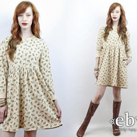 Vintage 90s Eddie Bauer Cream Floral Mini Dress S M Soft Grunge Dress 90s Floral Dress Floral Babydoll Dress Cream Floral Dress 90s Dress