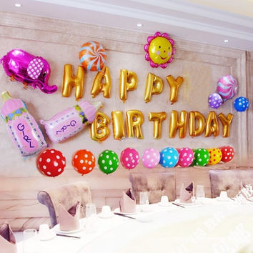 Happy Birthday Aluminum Foil Membrane Balloons 1 Set Party Decoration Silver/Gold
