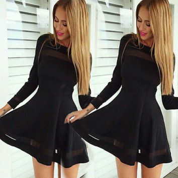 2018 New Fashion Women Bandage Bodycon Chiffon Mini Dress Long Sleeve Evening Sexy Party Hot  Mini Dress