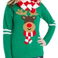 Eyeshadow Reindeer Ugly Christmas Sweater with Scarf IL0577CA40513