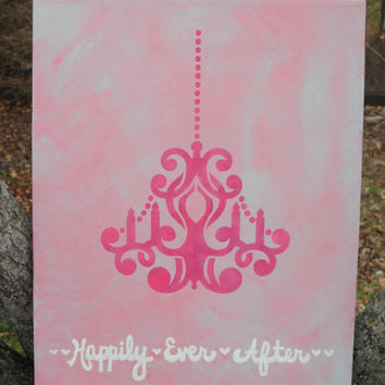 Custom Chandelier Painting, Personalized Canvas, Wedding Sign, Romantic Reception Art, Bridal Decoration, Made to Order