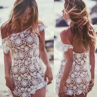 2018 off shoulder sexy Women  Beach party Bandage Bodycon Summer Lace Floral  Beach Dress