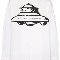 White and Black Undercover UFO Graphic Dress Shirt by Valentino