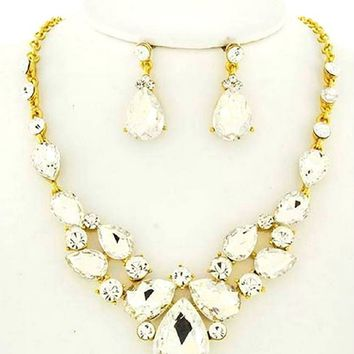 Chic Clear Rhinestone Crystal Statement Gold Chain Necklace Earrings Set Affordable Wedding Jewelry
