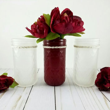 Mason Jar Set - Fall Wedding  - Frosted Glass Vase - Burgundy Vase Centerpiece - Wedding Centerpiece - Bridal Shower - Flower Vase -