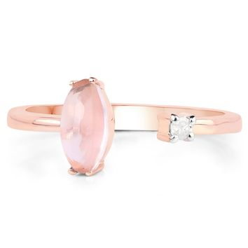 LoveHuang 0.75 Carats Genuine Rose Quartz and White Diamond (I-J, I2-I3) Ring Solid .925 Sterling Silver With 18KT Rose Gold Plating