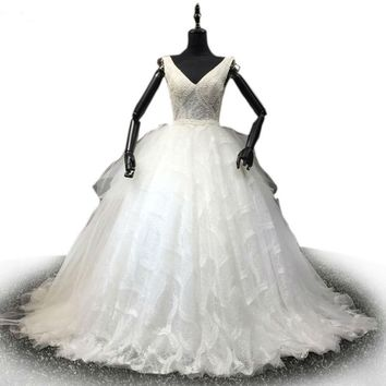 Gorgeous Sheer Ball Gown Wedding Dresses Puffy Lace Applique White  Wedding Gowns robe