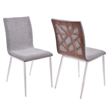 Crystal Dining Chair with Grey Fabric and Walnut Back - Set of 2-Armen Living