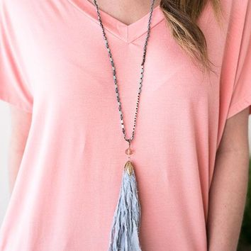 The Blues Beaded Fabric Tassel Necklace