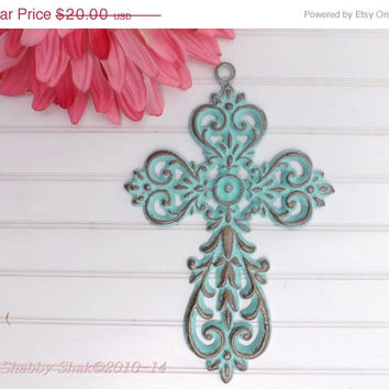 HOLIDAY SALE Decorative Wall Cross / Patina / Ornate Metal Cross / Iron Wall Cross