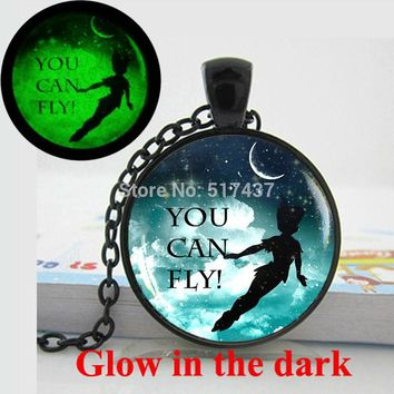 Glow in the dark Peter pan pendant Necklace ,you can fly, fairy tale pendant, Neverland necklace quote Necklace  Glowing Jewelry