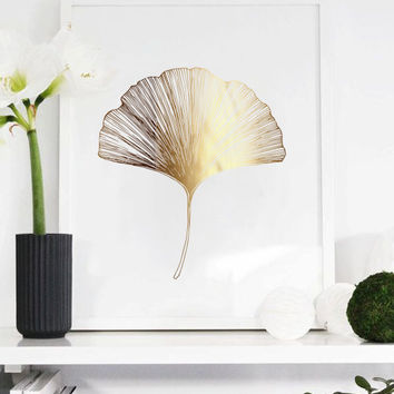 Ginkgo Leaf Print, Ginko Leaf Print, Wall Decor, Minimal Wall Art, Gold Foil, Plant Illustration, Botanical Art, Gold Home Decor, Wall Art.
