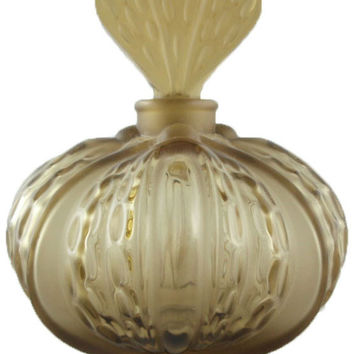 Lalique Olive Green Crystal Mirabel Perfume Bottle