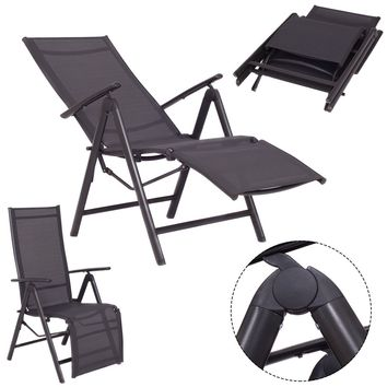 Adjustable Folding Lounge Chaise Chair Recliner Outdoor Patio Furniture New