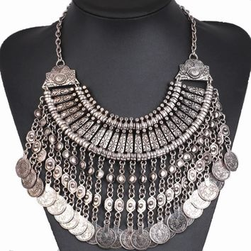 Festival Turkish Jewelry - Coin Collar Fringe Chain Necklace Bohemian Statement