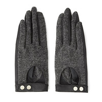 Buckled Faux Leather Gloves