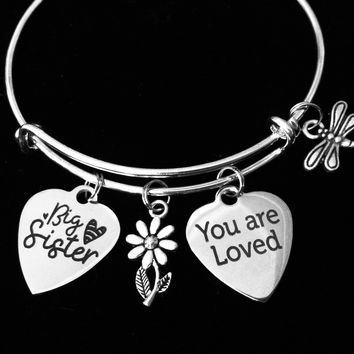 Big Sister Jewelry You are Loved Expandable Silver Charm Bracele 2325be54e