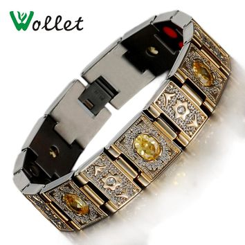 Wollet Jewelry Health Yellow Or Purple Red Zircon Bio Magnetic Germanium Infrared Negative Ion Gold Color Titanium Bracelet Men