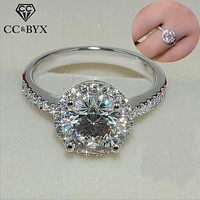 Silver Charms Round Stone Ring