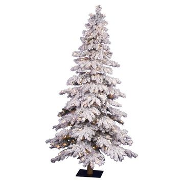 Flocked Spruce 6-Ft Realistic White Alpine Artificial Pre-Lit Christmas Tree with Stand