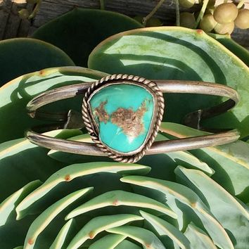 Vintage Turquoise Bracelet of Hand Pulled Silver Wire