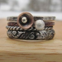 Stacking Metal Tulip Ring by RootsJewelry on Etsy