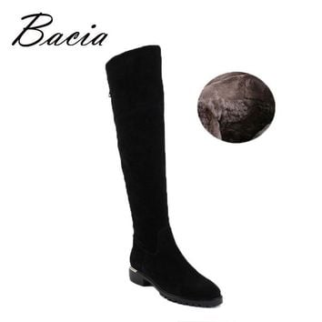Bacia Fashion Black Over Knee Boots Suede Leather Boots With Warm Plush Handmade High