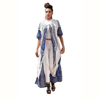White and Blue Dashiki Long Coat