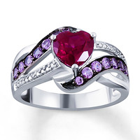 Lab-Created Ruby Lab-Created Sapphires Sterling Silver Ring