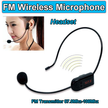 FM Wireless Microphone Headset Megaphone Radio Mic For Loudspeaker Teaching Meeting Tour Guide Microfones Headset