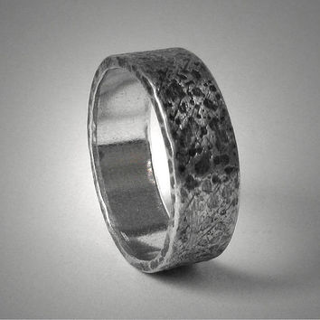 Men's Rustic wedding band - custom handmade sterling silver distressed unisex ring