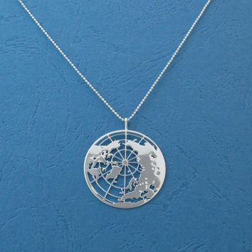 Earth- globe pendant- the world necklace- Planet Earth- sterling silver