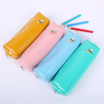 1pcs Candy Color Horse Pencil Case Office Stationery Waterproof PU Leather Storage PencilCase for School Students Supplies