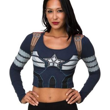 Captain America Longsleeve Crop Top – Spirit Halloween