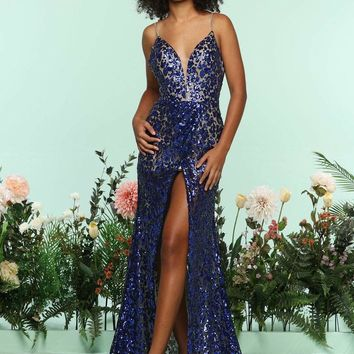 Zoey Grey - 31253 Sequined Plunging Fitted Dress with Slit