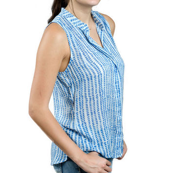 Sleeveless Pleat Shibori Blue Blouse by Bella Dahl
