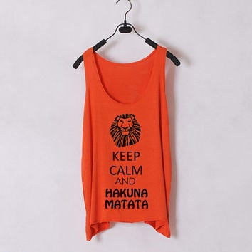 Keep Calm and Hakuna Matata - Women Tank Top - Orange - Sides Straight